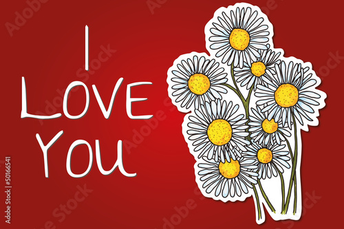 valentine's day background with daisy flowers