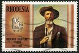 RHODESIA - 1971: shows Frederick Courteney Selous (1851-1917) poster