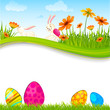 vector illustration of bunny with Easter egg in flower garden