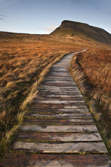 Wooden footpath over marshland leading to Pen-y-Ghent in Yorkshi