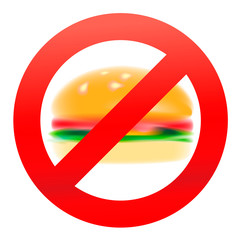 Unhealthy food, stop symbol, vector Eps10 illustration.