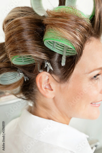 Client Wearing Hair Curlers