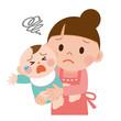 お母さんと泣いてる赤ちゃん