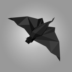 Vector illustration of origami bat.