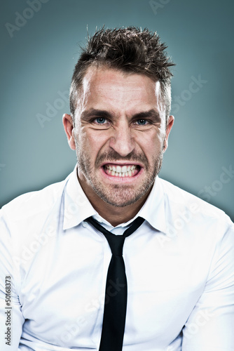 Young Man with Furious Expression