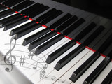 Piano keys with notes, musical background.