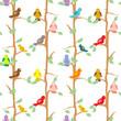 Color Birds  seamless pattern