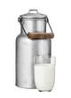 Leinwandbild Motiv Milchkanne mit Glas