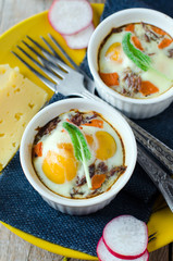 Eggs baked with meat and carrots