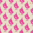 Seamless Pattern Pink Birthday Birds Symbols Beige