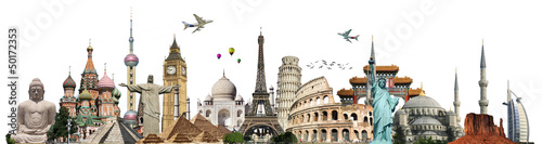 Travel the world monuments concept