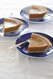 Slices of pumpkin pies on plates