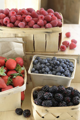 Various fresh berries in baskets