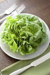 Fresh lettuce on plate