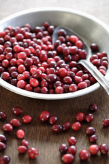 Cranberries and spoon in bowl