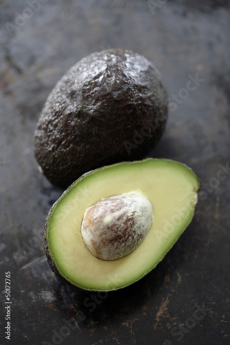 Cut open avocado