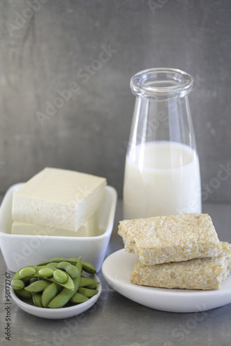Soy milk, tempeh and raw beans