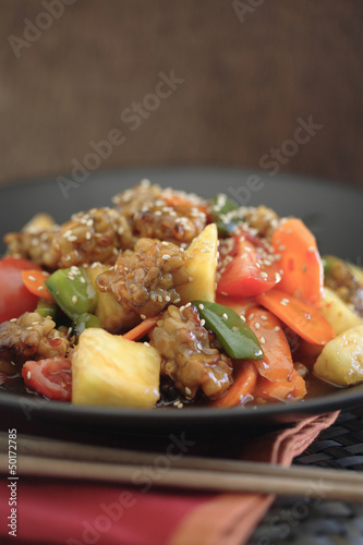Soy tempeh stir fry on plate