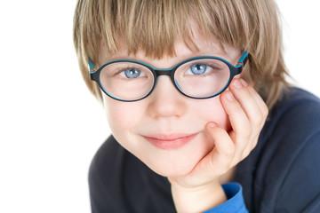 Adorable cute boy with glasses - portrait