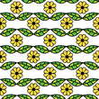 vector seamless pattern with green leaves and flowers