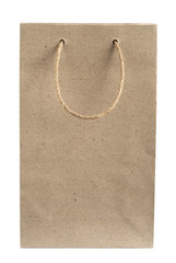Recycled paper bag with hemp rope handles isolated on white