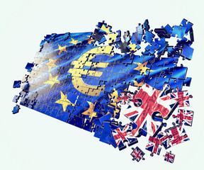 An European Union flag puzzle. UK separation in/out referendum