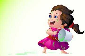 vector illustration of kids playing Holi festival