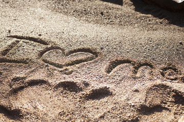 I heart me written in the sand