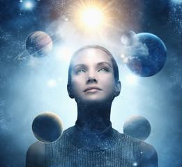 Planets orbiting around Pacific Islander woman's head