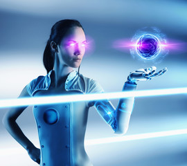 Futuristic Pacific Islander woman looking at floating ball