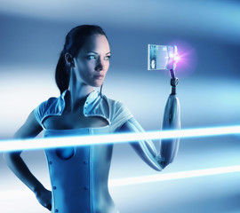 Futuristic Pacific Islander woman with robotic arm