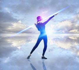 Futuristic Pacific Islander woman throwing bolt of light
