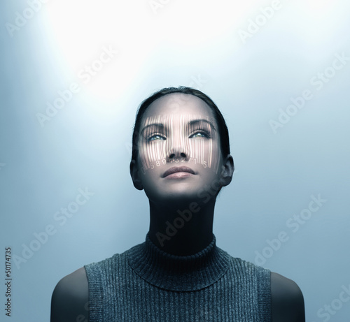 Pacific Islander woman with shadow of bar code on her face