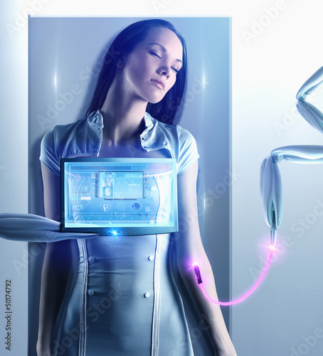 Futuristic Pacific Islander woman connected to digital screen