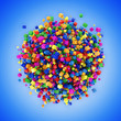 Abstract Sphere Made from Colorful Cubes on blue background