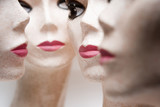 Four female mannequin heads