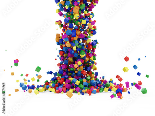 Abstract Illustration of Colorful Cubes Falling