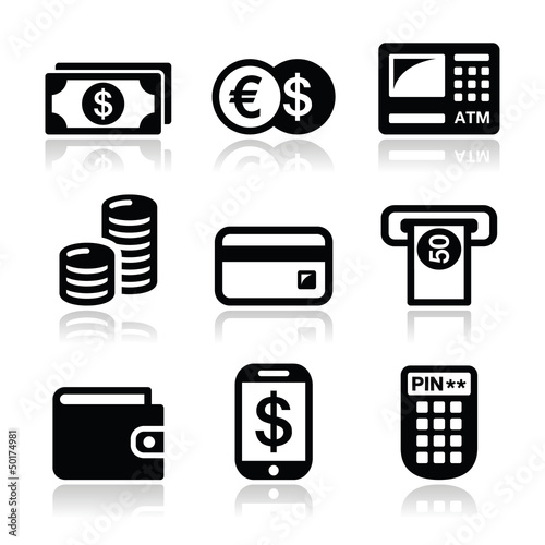 Money, atm - cash mashine vector icons set