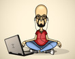 User in red shirt and sunglasses with a laptop meditates