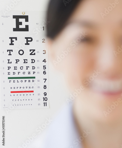 Japanese optometrist in front of eye chart