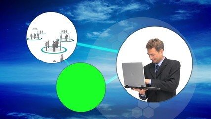 Business and connectivity montage with copy space screens