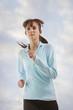 Caucasian woman jogging