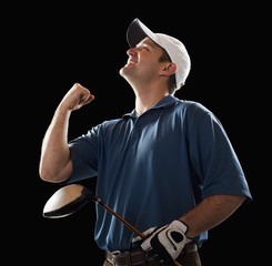 Cheering golfer holding golf club