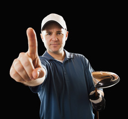 Caucasian golfer making Number 1 gesture