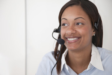 Black businesswoman working in call center