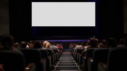 Viewers in the cinema house. Variant with screen motion.