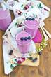 Homemade milkshake with fresh blueberries