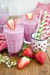 Homemade milkshake with fresh strawberries