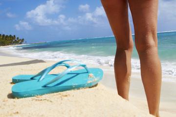 Caucasian woman standing on beach