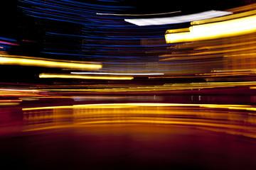 Blurred scene of streaking lights